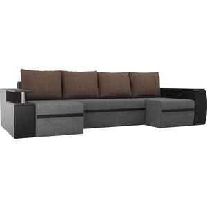 П-образный диван АртМебель Майами рогожка серый/экокожа черный подушки коричневый