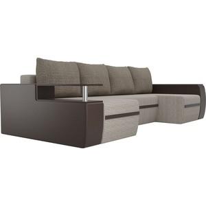 П-образный диван АртМебель Майами корфу 02/экокожа коричневый