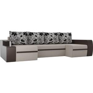 Диван АртМебель Майами рогожка бежевый/экокожа коричневый подушки рогожка на флоке П-образный фото