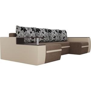 Диван АртМебель Майами рогожка коричневый/экокожа бежевый подушки на флоке П-образный