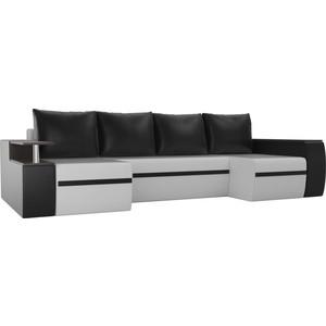 Диван АртМебель Майами экокожа белый/черный П-образный диван артмебель сатурн экокожа черный белый п образный