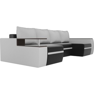 Диван АртМебель Майами экокожа черный/белый П-образный диван артмебель сатурн экокожа черный белый п образный