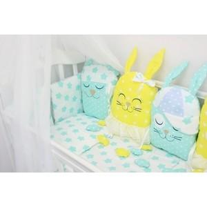 Комплект в кроватку By Twinz с игрушками Друзья желтый-мята , 4 предм. комплект в кроватку by twinz с игрушками друзья кофейный 4 предм