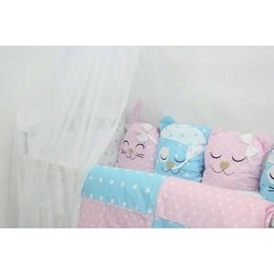Комплект в кроватку By Twinz с игрушками Друзья розовый-голубой, 4 предм.