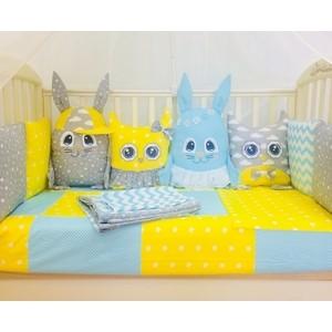 Комплект в кроватку By Twinz с игрушками Друзья-2 желто-голубой, 4 предм.