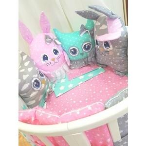 Комплект в кроватку By Twinz с игрушками Друзья-2 мятно-розовый, 4 предм.