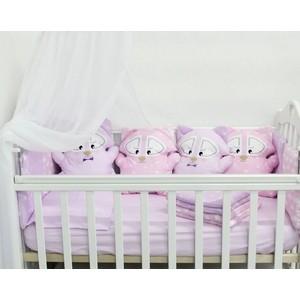 Комплект в кроватку By Twinz с игрушками Еноты розово-сиреневый, 4 предм.