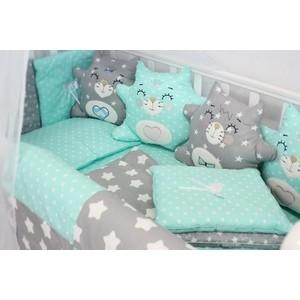 Комплект в кроватку By Twinz с игрушками Котики мята, 4 предм. комплект в кроватку by twinz с игрушками друзья кофейный 4 предм