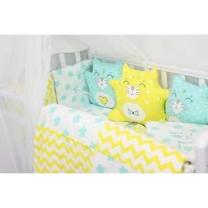 Комплект в кроватку By Twinz с игрушками Котики мята-желтый, 4 предм. комплект в кроватку by twinz с игрушками друзья кофейный 4 предм