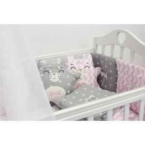 Комплект в кроватку By Twinz с игрушками Котики розово-серый, 4 предм. комплект в кроватку by twinz с игрушками друзья кофейный 4 предм