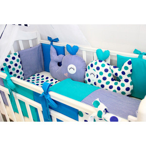 Комплект в кроватку By Twinz с игрушками 6 пр. Маленький кит КПБ6-КИТ