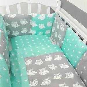 Комплект в кроватку By Twinz с игрушками 6 пр. Слоники мятные КПБ6-СЛОН-М