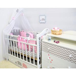 Комплект в кроватку By Twinz с игрушками 6 пр. Слоники розовые КПБ6-СЛОН-Р