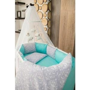 Комплект для круглой кроватки By Twinz Дамаск мята КПБ7-К.К.-ДАМАСК-МЯТ