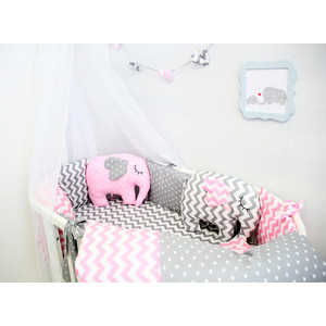 Комплект для круглой кроватки By Twinz 7 пр. с игрушками Слоники розовые КПБ7-К.К-СЛОН-Р