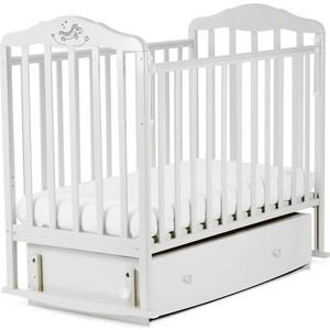 Кровать детская Malika с маятником и ящиком Зебра автостенка,попер.и прод.маятник,белый 216001/6001