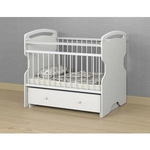 Кроватка детская АТОН Elsa поперечный маятник с ящ. Белый/Белый