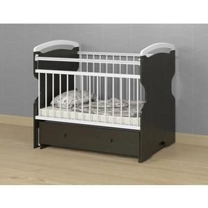 Кроватка детская АТОН Elsa поперечный маятник с ящ. Венге/Белый