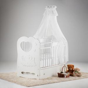 Кровать детская Антел Слоненок белый маятник поперечный с ящиком ОУ208Б