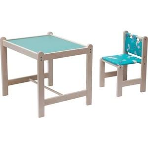 Набор детской мебели Гном Малыш-2 стол+стул Утки зеленые+зеленая столешница МИ 01.02-02