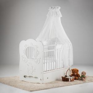 Кровать детская Островок уюта Карета белый маятник поперечный с ящиком ОУ209Б