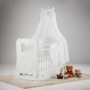 Кровать детская Островок уюта Мальвина белый маятник поперечный с ящиком ОУ210Б