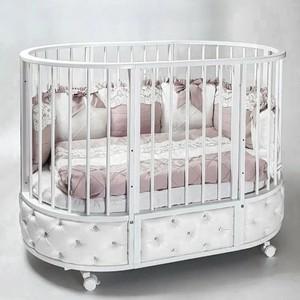Кровать детская овальная с маятником Островок уюта EVA декор VIP белый ОУ387Б