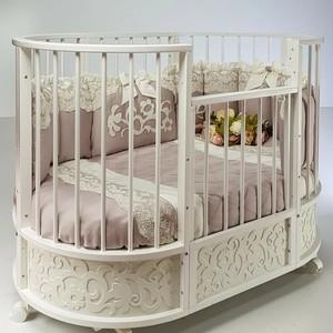 Кровать детская овальная с маятником Островок уюта EVA декор Арабески белый ОУ386Б