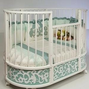 Кровать детская овальная с маятником Островок уюта EVA декор Арабески мята/белый ОУ386М/Б