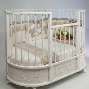 Кровать детская овальная с маятником Островок уюта EVA декор Котята капучино/белый ОУ384К/Б