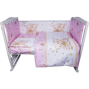 Комплект в кроватку BamBola 4 предмета ДРУЗЬЯ Бязь Розовый 409