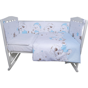 Комплект в кроватку BamBola 4 предмета УМКА Сатин, поплин Голубой 415