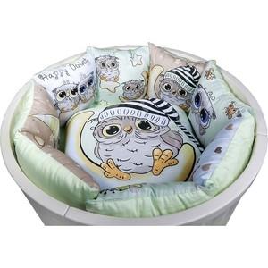 Комплект универсальный в овальную и стандартную кроватку BamBola 6 предметов СОВЯТА Салатовый Сатин 628