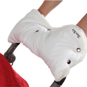 Муфта для коляски BamBola шерстяной мех+плащевка+кнопки(лайт) Белая 153В