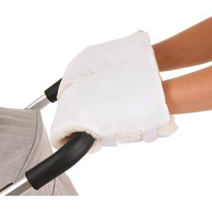 Муфты варежки BamBola на липучках шерстяной мех+плащевка (Лайт) Белые 155BL