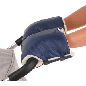 Муфты варежки BamBola на липучках шерстяной мех+плащевка (Лайт) Темно-Синие 155BL