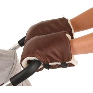 Муфты варежки BamBola на липучках шерстяной мех+плащевка (Лайт) Шоколад 155BL