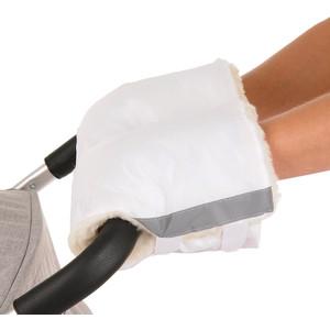Муфты варежки BamBola на липучках шерстяной мех+плащевка Белые 055BL