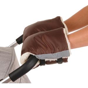 Муфты варежки BamBola на липучках шерстяной мех+плащевка Шоколад 055BL