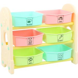 цены на Стеллаж для игрушек Edu Play с ящиками 3 полки Цветной (76х36х65.5) AR-7355BG  в интернет-магазинах