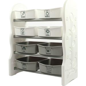 цены на Стеллаж для игрушек Edu Play с ящиками 4 полки Серый (76,5х36х91) AR-8348W  в интернет-магазинах
