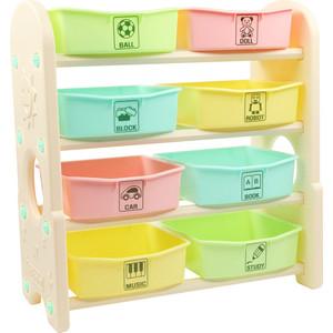 Стеллаж для игрушек Edu Play с ящиками 4 полки Цветной (76х36х80,5) AR-7385BG