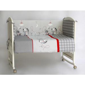 Бортик в кроватку Pituso бязь ЗЕБРЫ Серый ЗС 103