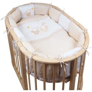 Комплект для овальной кроватки Pituso (борт-подушки) сатин НА ЛУЖАЙКЕ 6пр.Бежевый ЛБ-П 611