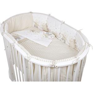 Комплект для овальной кроватки Pituso бязь МИШКИ 6 пр. Бежевый МБ 605