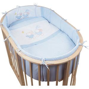Комплект для овальной кроватки Pituso бязь НА ЛУЖАЙКЕ 6пр. Голубой ЛГ 610