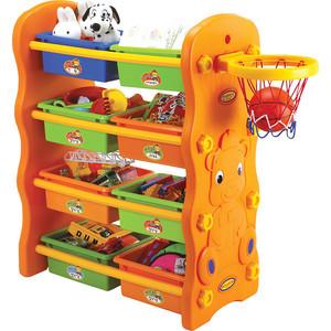 Стеллаж 3в1 для игрушек Edu Play с ящиками баскетбольное кольцо (84x43x106h см) KU-1701