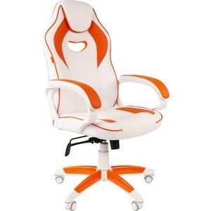 Кресло Chairman Game 16 экопремиум белый/оранжевый