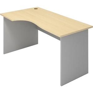 Стол письменный угловой левосторонний Виско Импакт береза серый