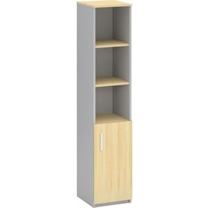 Шкаф-колонка Виско Импакт береза серый полузакрытый для документов
